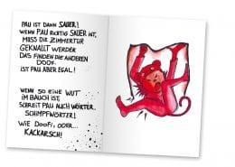 Buchdesign für Mabuse-Verlag »Pau und die Wut«, Innenseite