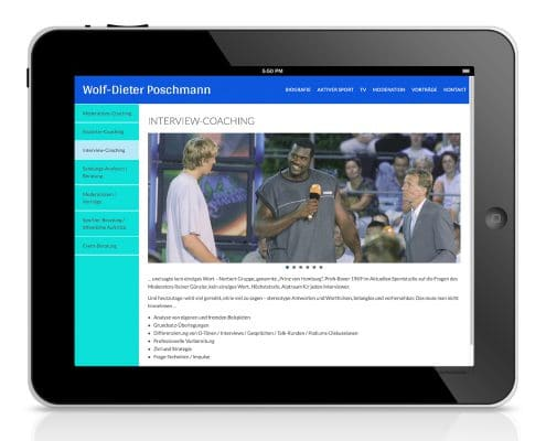 Website Wolf-Dieter Poschmann Ansicht Tablet