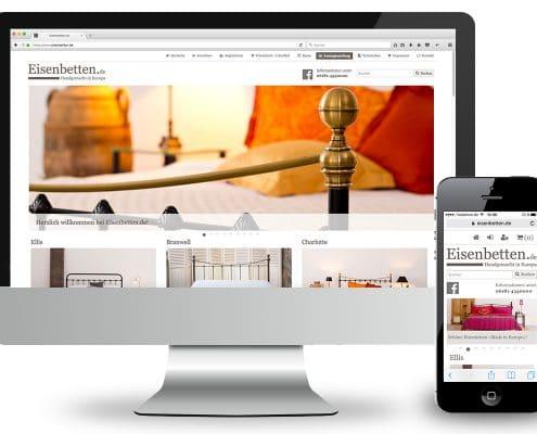 Webshop Eisenbetten.de, responsive Anpassung für Monitor und Smartphone