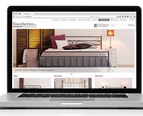 Webshop Eisenbetten.de, responsive Anpassung für Notebook