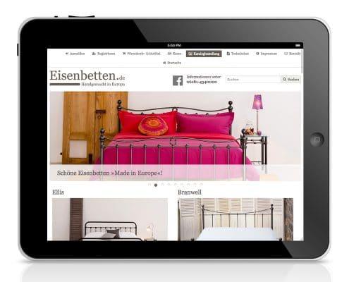 Webshop Eisenbetten.de, responsive Anpassung für Tablet