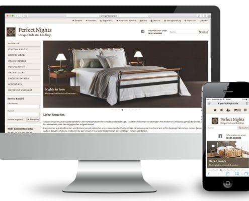 Webshop Perfect Nights, responsive Anpassung für Monitor und Smartphone