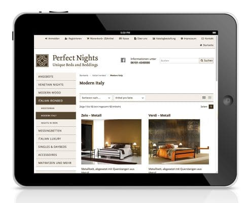 Webshop Perfect Nights, responsive Anpassung für Tablet