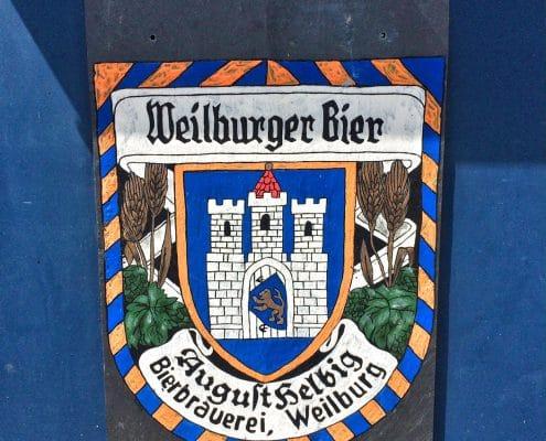 Weilburg, handgemaltes Werbeschild