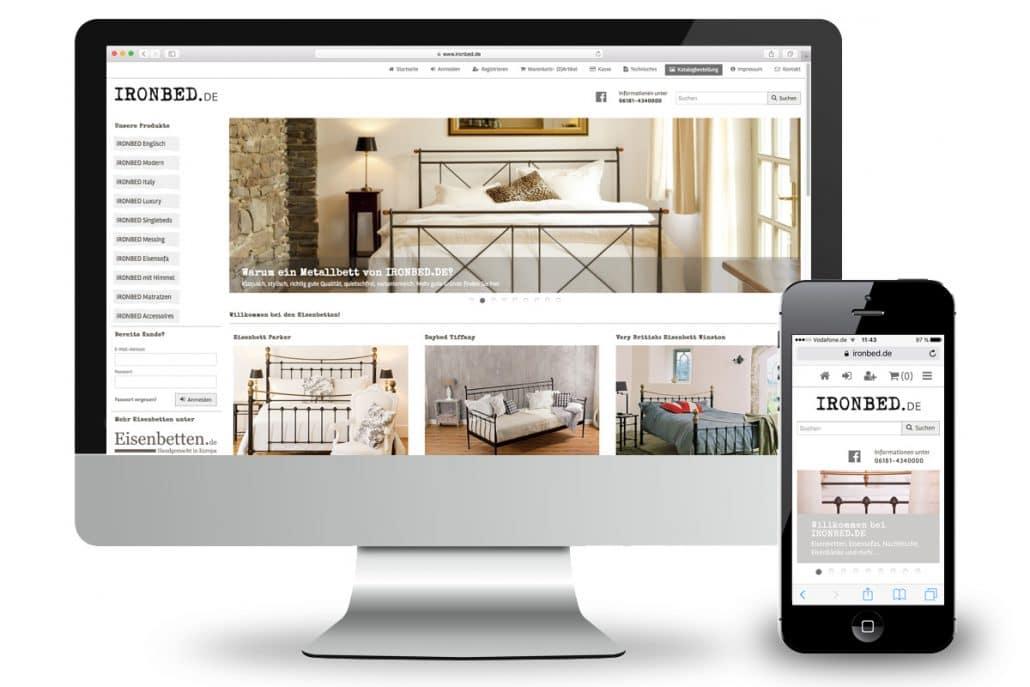 Responsives Webdesign für ironbed.de