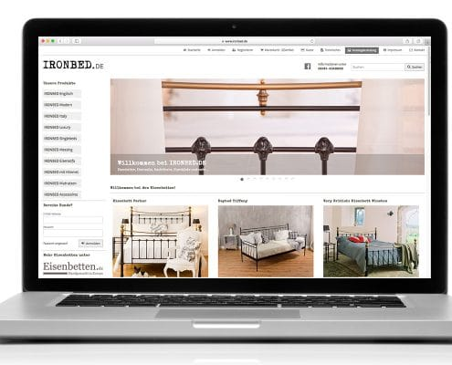 Responsives Webdesign für Webshop ironbed.de: Darstellung am Notebook