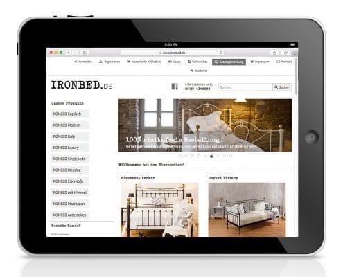 Responsives Webdesign für Webshop ironbed.de: Darstellung am Tablet
