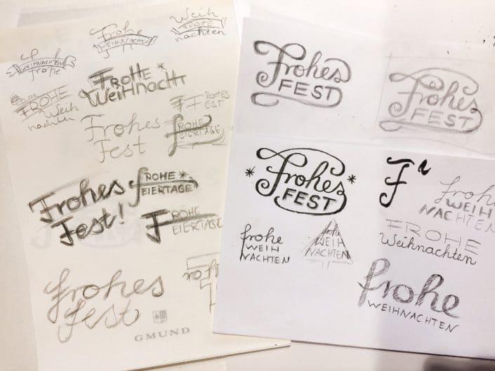 Lettering-Workshop in Essen: verschiedene Ideen und Skizzen