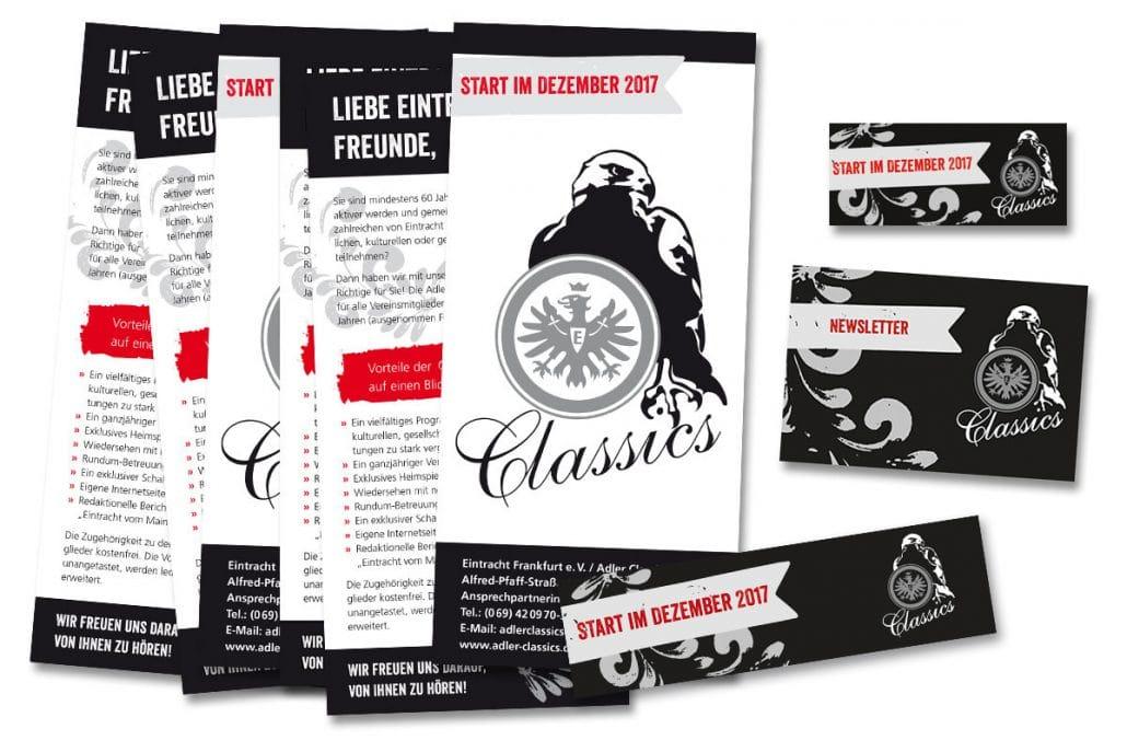 Flyer und Banner für Adler Classics, Eintracht Frankfurt