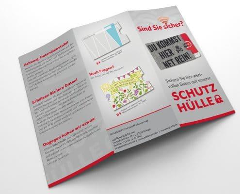 Außenseite Werbefolder für RFID-Schutzhüllen, rugi Briefhüllen-Manufaktur
