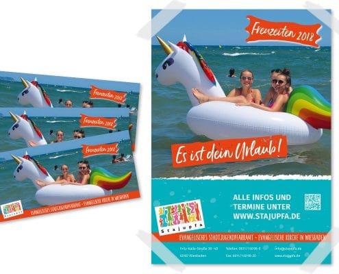 Poster und Programmheft für Freuzeiten / Freizeiten 2018 des Evangelischen Stadtjugendpfarramtes Wiesbaden