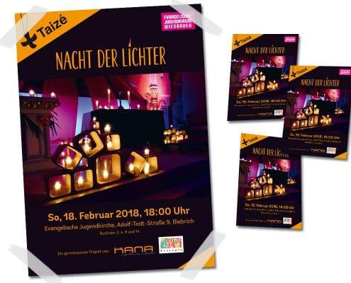 """Gestaltung von Postern und Flyern für Veranstaltung """"Nacht der Lichter"""" für Evangelische Jugendkirche Wiesbaden"""