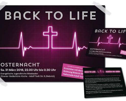 Gestaltung von Postern und Flyern für Veranstaltung Osternacht für Evangelische Jugendkirche Wiesbaden