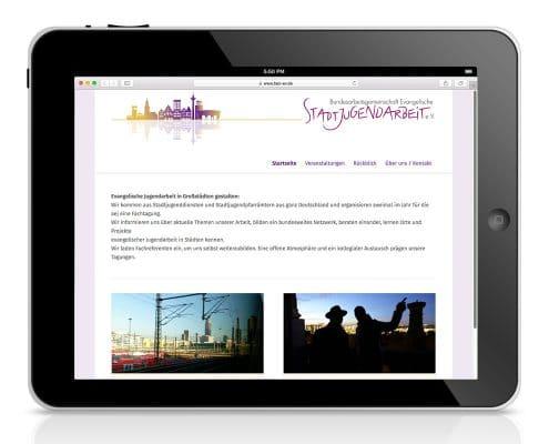 Responsives Webdesign für Bundesarbeitsgemeinschaft Evangelische Jugendarbeit e.V. – Ansicht Tablet