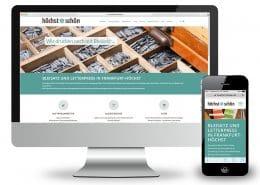 Neugestaltung der Website für höchst*schön – Ansicht Monitor und Smartphone