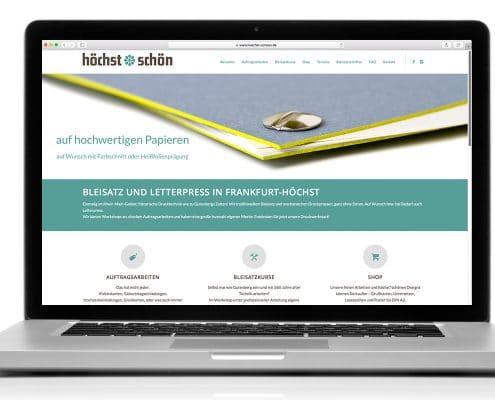 Neugestaltung der Website für höchst*schön – Ansicht Notebook