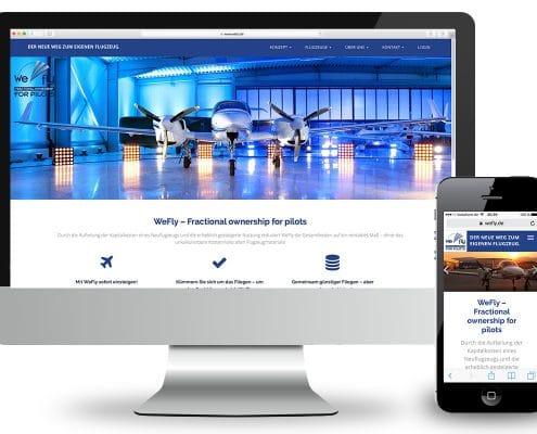Responsives Webdesign für WeFly GmbH – Ansicht Monitor und Smartphone