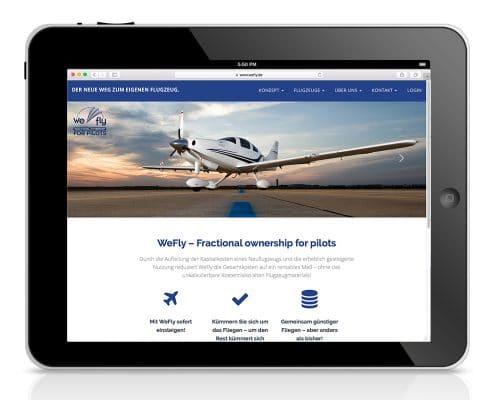 Responsives Webdesign für WeFly GmbH – Ansicht Tablet