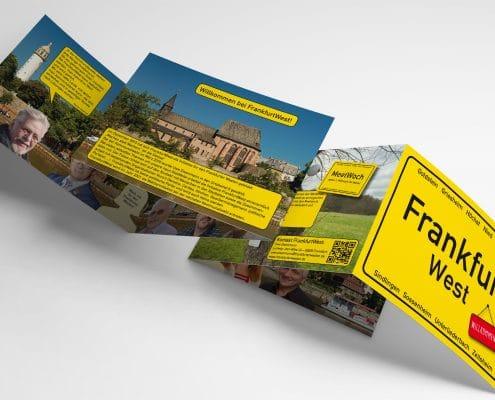 Infofolder für »FrankfurtWest« – Ansicht außen und innen