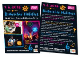 Flyer für Biebricher Höfefest des Wiesbadener Stadtjugendpfarramtes und der Evangelischen Jugendkirche