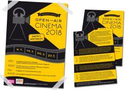 Poster und Flyer für Headphone Open Air Cinema des Evangelischen Stadtjugendpfarramtes Wiesbaden und der Evangelischen Jugendkirche