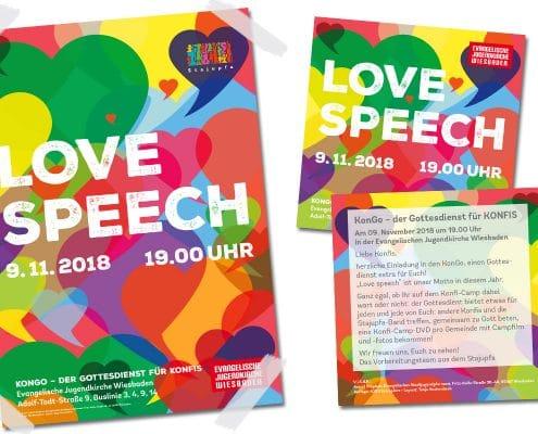 Flyer und Poster für Konfirmanden-Gottesdienst »KonGo« des Wiesbadener Stadtjugendpfarramtes und der Evangelischen Jugendkirche