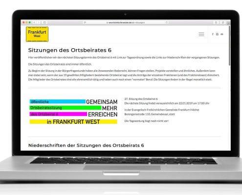 Webdesign für Wählerinitiative »Frankfurt West« – Ansicht Notebook