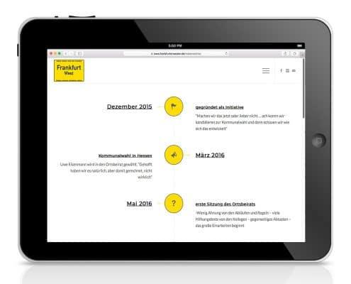 Webdesign für Wählerinitiative »Frankfurt West« – Ansicht Tablet