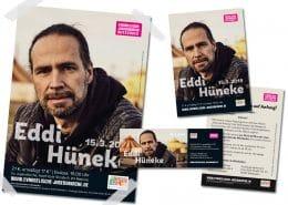 Design von Flyer, Poster und Eintrittskarte für das Konzert von Eddi Hüneke beim Stajupfa / Evangelische Jugendkirche Wiesbaden
