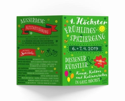Flyer für Höchster Frühlingsspaziergang 2019 – Titel und Rückseite