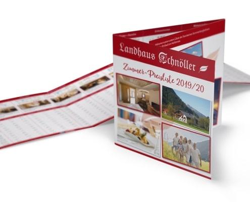 Preisliste 2019/2020 für Landhaus Schnöller, Tannheim / Tirol, Titel und Innenseiten