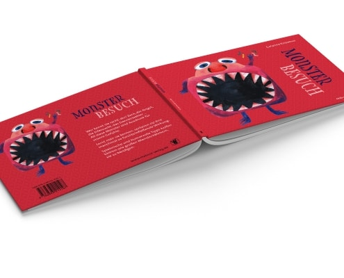 Umschlaggestaltung »Monsterbesuch« für Mabuse-Verlag, Vorder- und Rückseite
