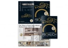 8-seitiges Faltblatt für Axel Fröhlich GmbH – Badgestaltung und Wohnarchitektur. Titel und Außenseiten