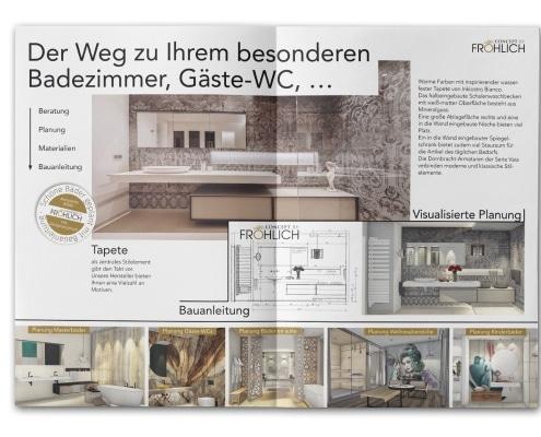 8-seitiges Faltblatt für Axel Fröhlich GmbH – Badgestaltung und Wohnarchitektur. Teil der Außenseiten