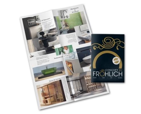 8-seitiges Faltblatt für Axel Fröhlich GmbH – Badgestaltung und Wohnarchitektur. Innenseiten und Titel