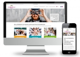 Webdesign für FWZ – Freiwilligenzentrum Wiesbaden e.V., Ansicht auf Monitor und Smartphone