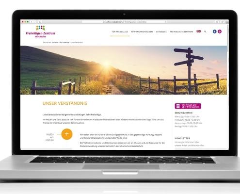 Webdesign für FWZ – Freiwilligenzentrum Wiesbaden e.V., Ansicht für Notebook