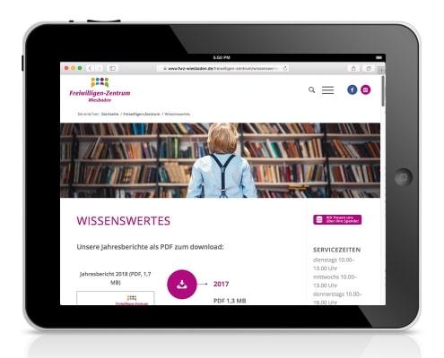 Webdesign für FWZ – Freiwilligenzentrum Wiesbaden e.V., Ansicht für Tablet