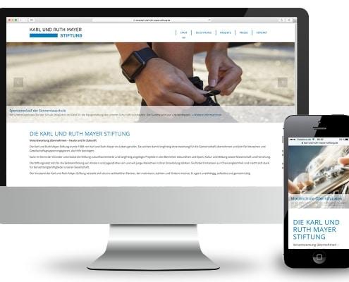 Webdesign für Karl und Ruth Mayer Stiftung, Obertshausen – Ansicht für Monitor und Smartphone