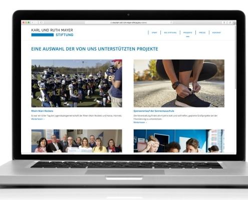 Webdesign für Karl und Ruth Mayer Stiftung, Obertshausen –Ansicht für Notebook
