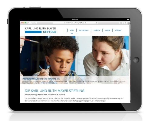 Webdesign für Karl und Ruth Mayer Stiftung, Obertshausen – Ansicht für Tablet
