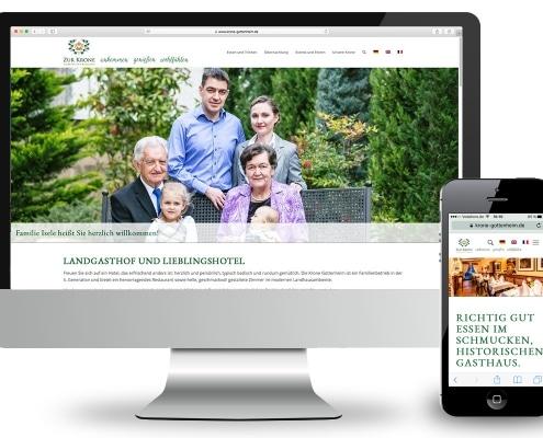 Webdesign für Landhotel und Restaurant »Zur Krone« Gottenheim, Ansicht für Monitor und Smartphone