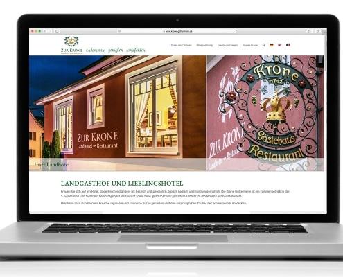 Webdesign für Landhotel und Restaurant »Zur Krone« Gottenheim, Ansicht für Notebook