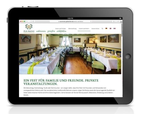 Webdesign für Landhotel und Restaurant »Zur Krone« Gottenheim, Ansicht für Tablet