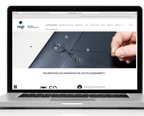 Webdesign für rugi Briefhüllen-Manufaktur, Rodgau – Ansicht für Notebook