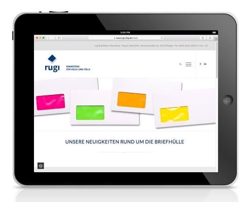 Webdesign für rugi Briefhüllen-Manufaktur, Rodgau – Ansicht für Tablet