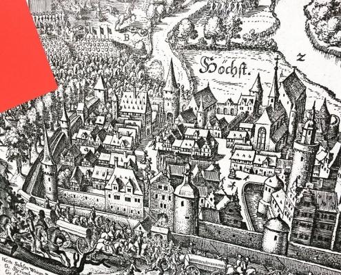 Gestaltung des Bauzauns am Ettinghausenplatz, Frankfurt-Höchst, Detailansicht des Banners mit einem Ausschnitt aus dem Stich »Die Schlacht bei Höchst« von Matthäus Merian 1622