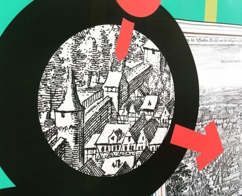 Gestaltung des Bauzauns am Ettinghausenplatz, Frankfurt-Höchst, Detailansicht des Banners mit einem Ausschnitt aus dem Stich »Die Schlacht bei Höchst« von Matthäus Merian 1622, Fokus auf den Hintertum