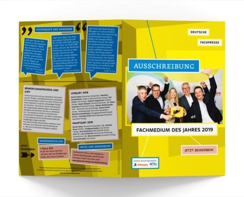 Ausschreibung Award »Fachmedium des Jahres 2019« für Deutsche Fachpresse, Titel und Rückseite