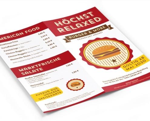Speisekarte für Burgerlokal »Höchst Relaxed«, Titel und Rückseite